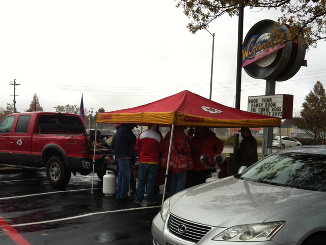 Rain or shine, the tailgate must goon.